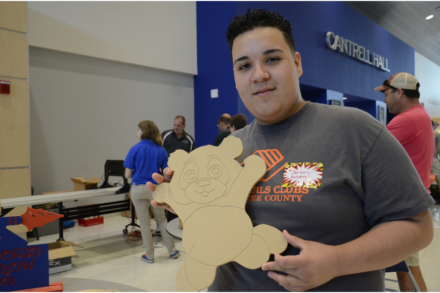 Jensen Soberal of Bradenton made a bear by designing it in Adobe Illustrator first.