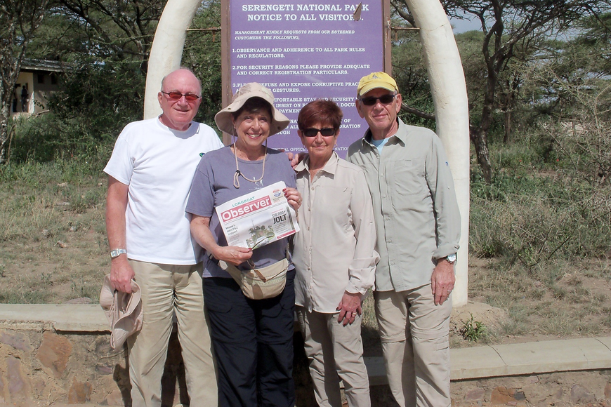 Longboat Key residents Robert and Bonny Israeloff with Karen and Tom Bernstein went on safari in Tanzania and Kenya and visited Serengeti National Park in Tarangire, Tanzania.