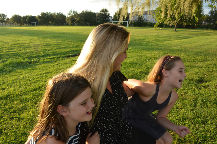Hailey, Rachel and Audrey Weeks often enjoy evenings at the park.