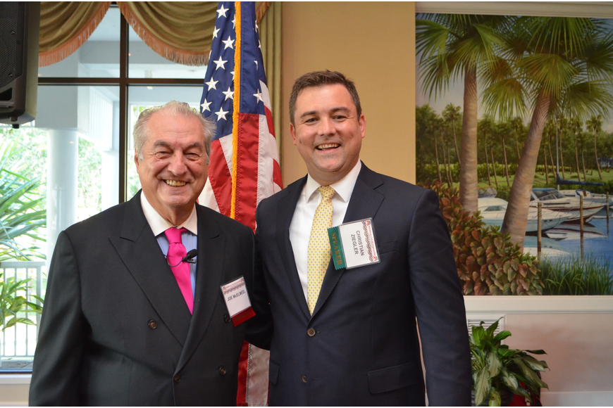 Republican Club of Longboat Key President Joe McElmeel and speaker Christian Ziegler, State Committeeman for the Republican Party of Florida