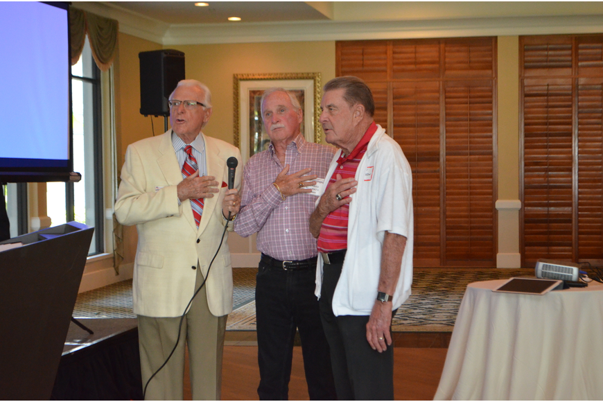 Present members that are veterans led the club in the Pledge of Allegiance at the first Republican Club of Longboat Key meeting of the season on Oct. 5.