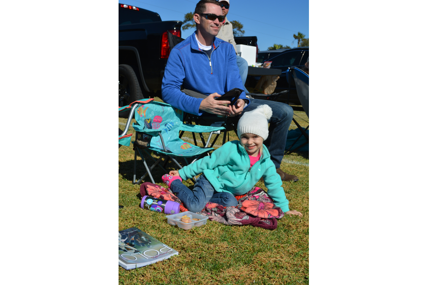 Emma Buffaloe, 3, of Nokomis came to her first polo match with her dad, Justin, and mom, Krista (not pictured.