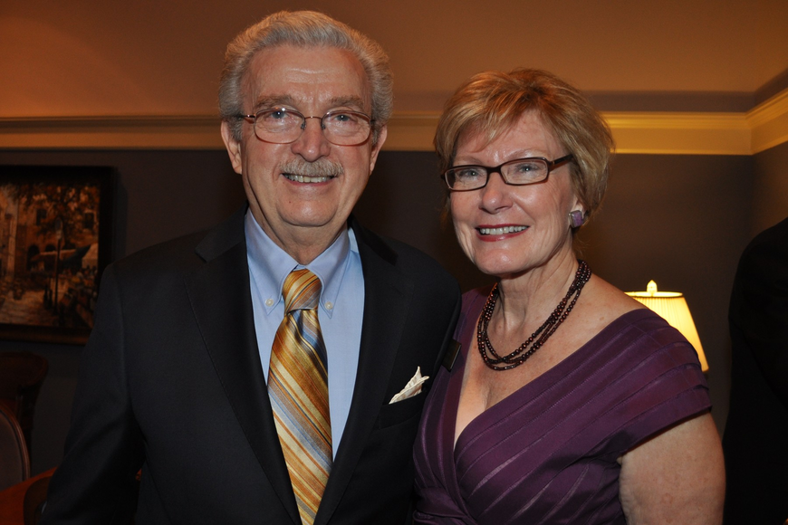 Dominic Cossa and Opera Guild President Janet Huelster