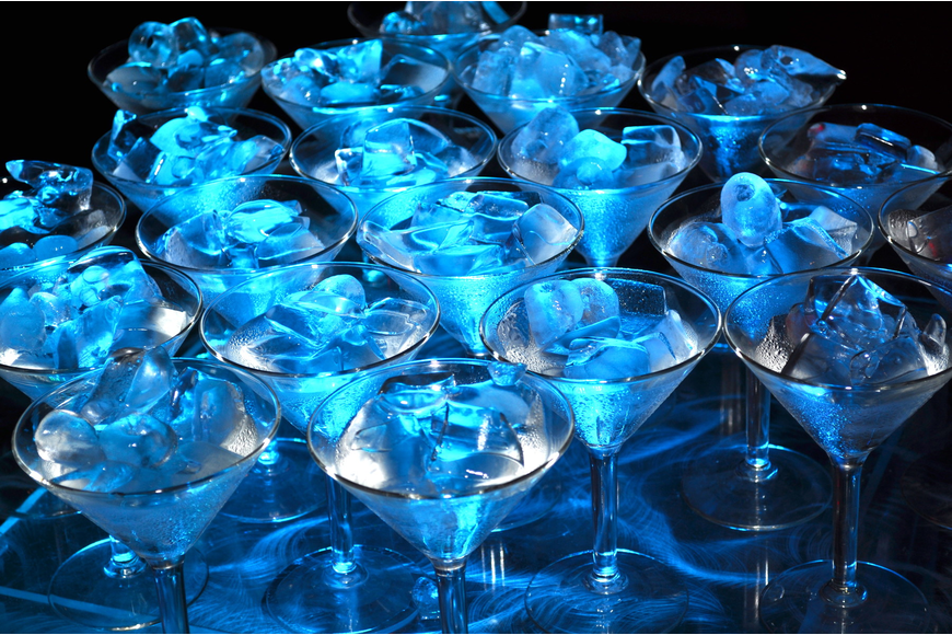 These glowing martini glasses were a big hit with guests.