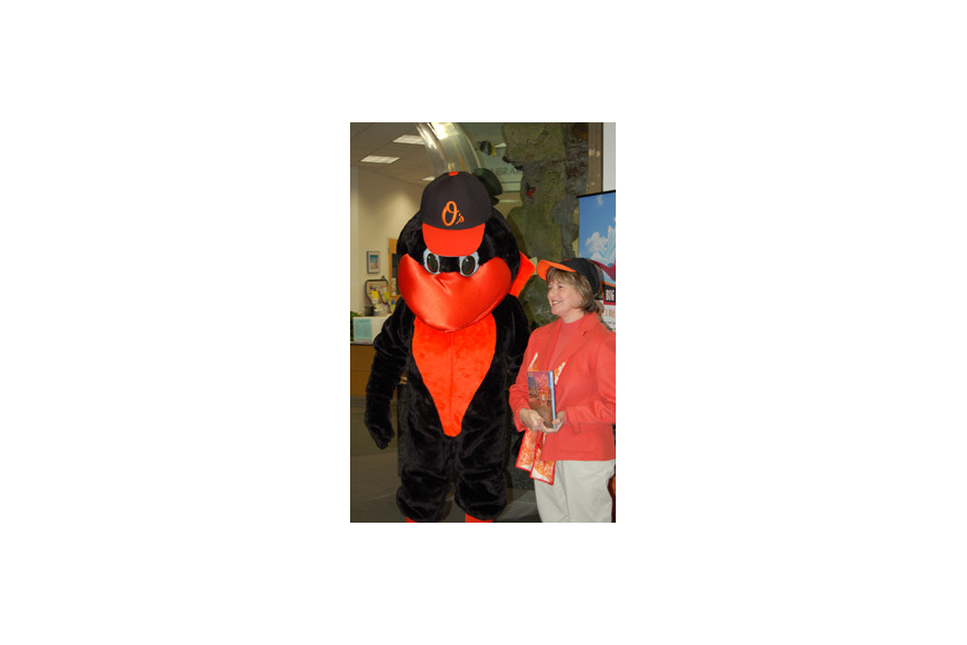 The Orioles Bird and Sarabeth Kalajian, director of libraries