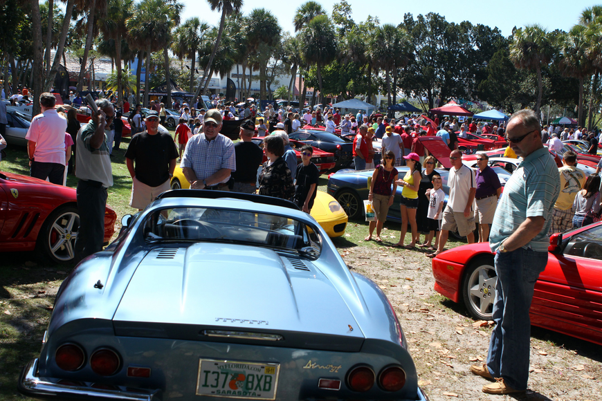 A large crowd turned out on Saturday, Feb. 19 for the Sarasota Exotic Car Fest in St. Armand's Circle.