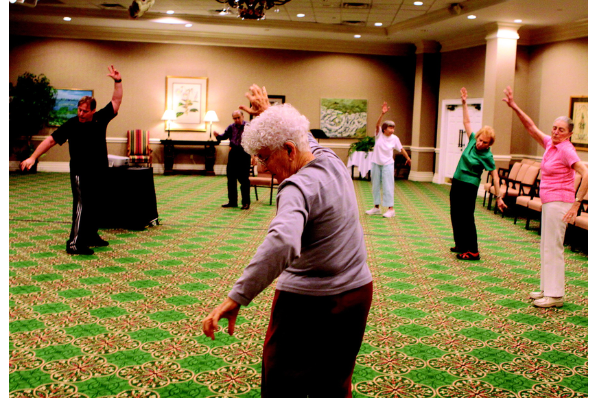 Sarasota Bay Club residents do chi tao with instructor Michael Stults, left, Friday, Feb. 18, at Sarasota Bay Club. Stults has been a chi tao instructor for 28 years and has been teaching this class at Sarasota Bay Club for 10 years.