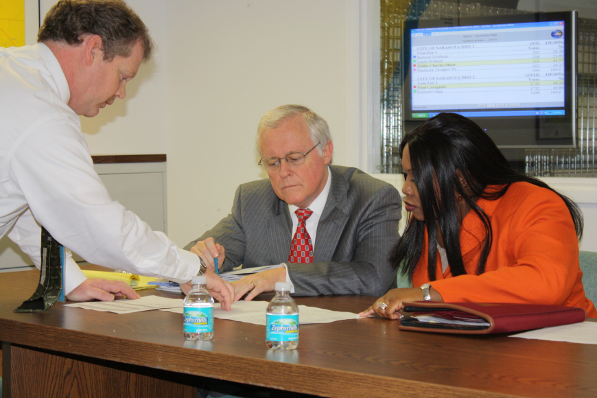 The canvassing board, City Attorney Robert Fournier, center, and City Auditor and Clerk Pamela Nadelini examine vote totals with an elections worker.