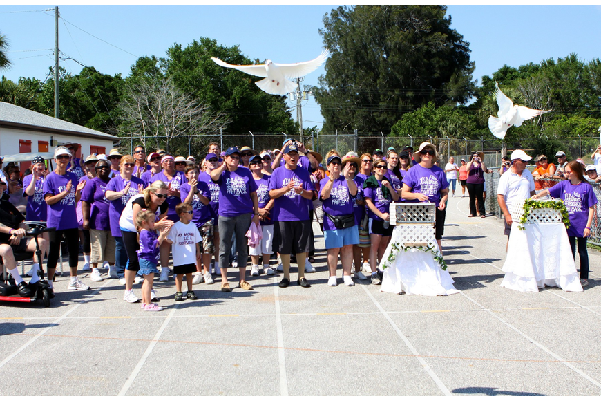 Doves were let loose at the start of the survivor lap, the first lap done during 2011's Relay for Life on Saturday, April 9 at Sarasota High School.