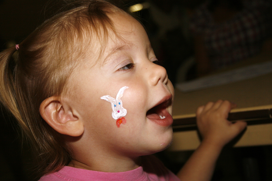 Julianne Holmes, 2, loved her Easter Bunny face painting.