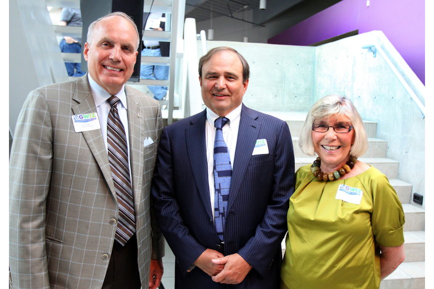 Ron Vaughn, Fritz Faulhaber and Gerri Aaron pose together at the opening of the G. WIZ Faulhaber Fab Lab Thursday, May 5 at G. WIZ.