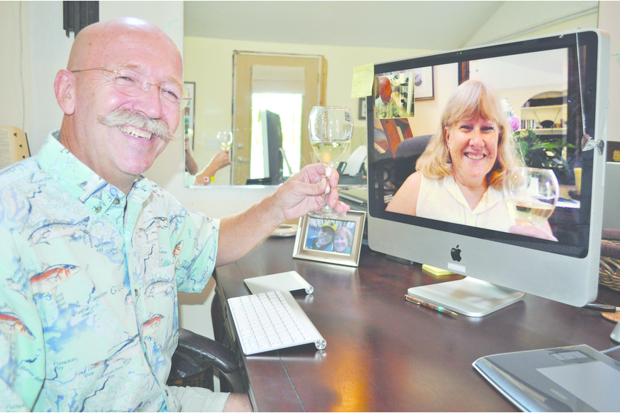 During their long-distance relationship and marriage, Michael Haluska and Susan Lorenc-Haluska shared the tradition of fixing the same meal and clinking wine glasses via their computers.