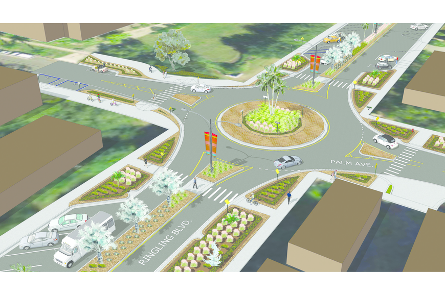 Landscaped bulbouts will separate angled parking spaces on Ringling Boulevard from the Palm Avenue roundabout.