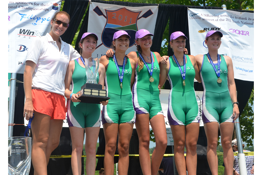 Coach Kirby Gallie, coxswain Arianna Robbins, Shawna Sims, Devin Norder, Cara Rawe, and Colleen Wohlrab