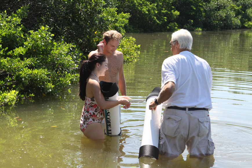 Chris Wetzig and Bob Clousson pay attention to Amanda Dominguez as she talks about the epiphytic algae on the seagrass Saturday, July 30 out in the water by the Turtle Beach Community Center