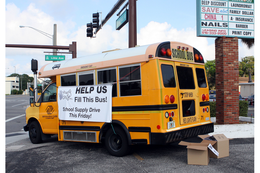 The Boys & Girls Clubs of Sarasota County donated a bus for the cause and for the last few days the bus has been serving as a helpful reminder to people driving by about the school supply drive.