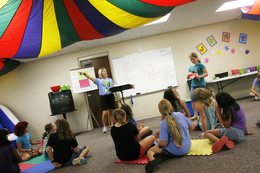 In addition to all the fun, the Vacation Bible School also included time for Bible study.