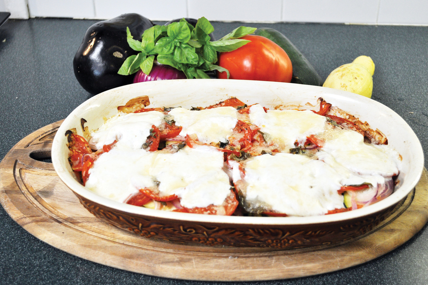 Eileen Hays Wallace's eggplant casserole with cheese in its finished form.
