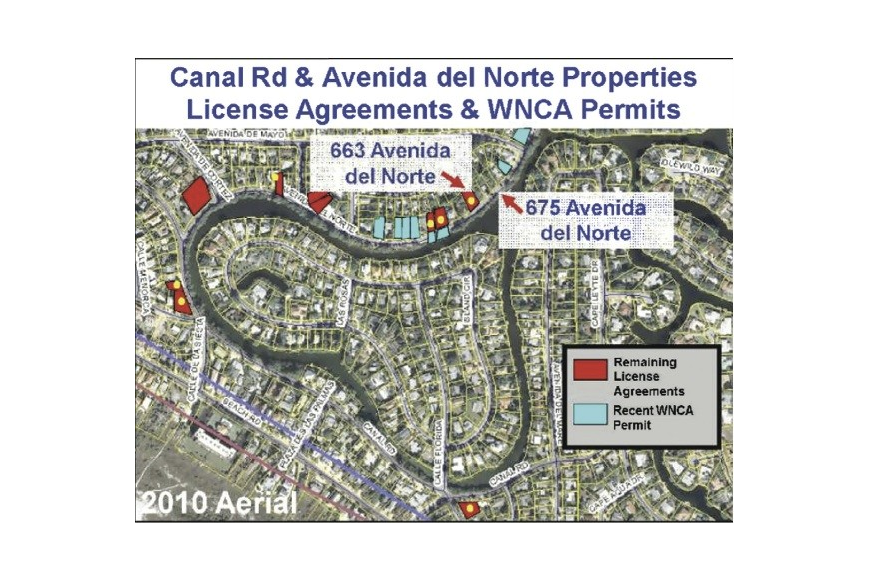 Because of lawsuits, special circumstances exist regarding the dock construction along Avenida del Norte and Canal Road on Siesta Key. Courtesy Sarasota County.