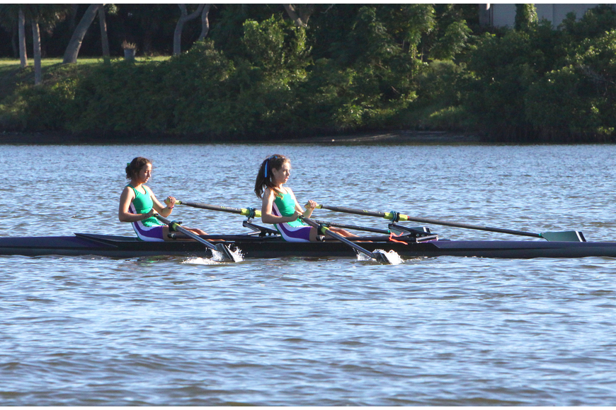 The Sarasota Scullers came in second in the Womens HS Novice 8+.