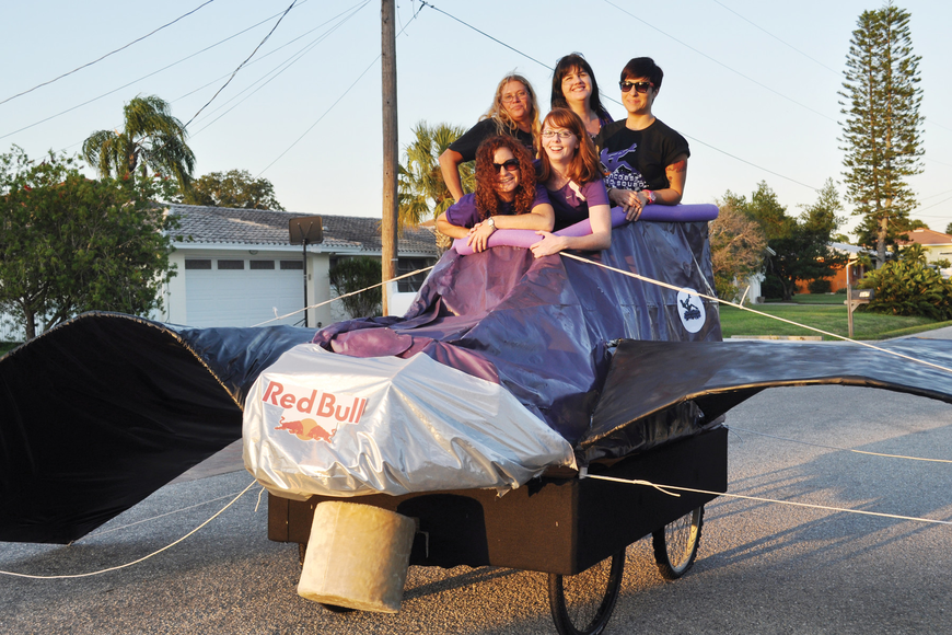 The Suncoast Quad Squad takes its giant bat skate for a test drive in Sarasota.