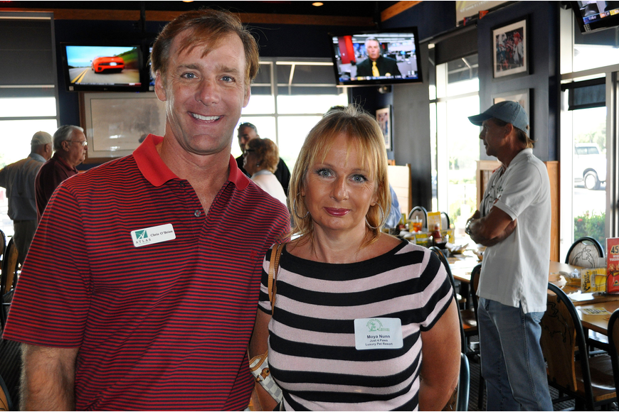 Chris O'Brein of Atlas Insurance and Moya Nunn of Just 4 Paws