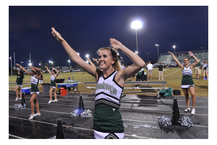 Hannah Rowland and her fellow cheerleaders kept the mood lively.