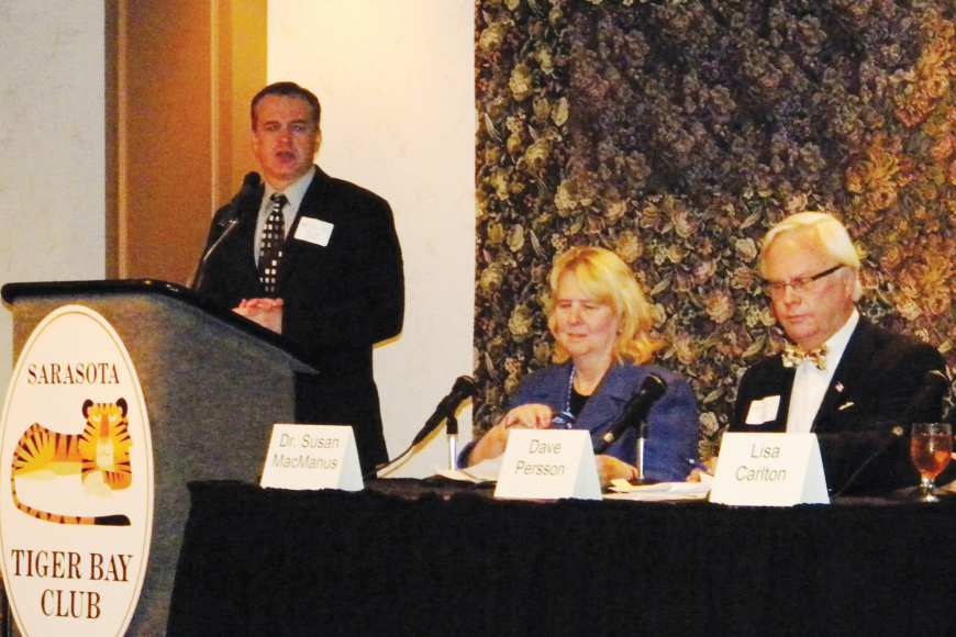 Frank Alcock, a New College professor, serves as moderator of the meeting featuring panelists Susan MacManus of the University of South Florida, Longboat Key Town Attorney David Persson and former state Sen. Lisa Carlton. Photo courtesy of Norm Schimmel.