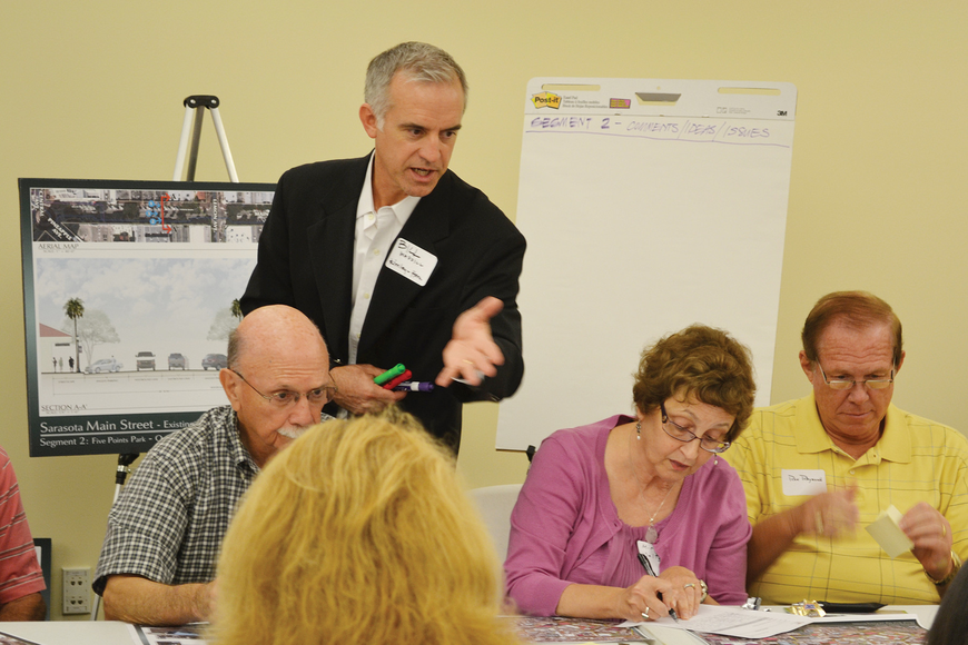Bill Waddill, with Kimley-Horn Associates, discusses the Main Street streetscape project Monday with Sarasota residents.