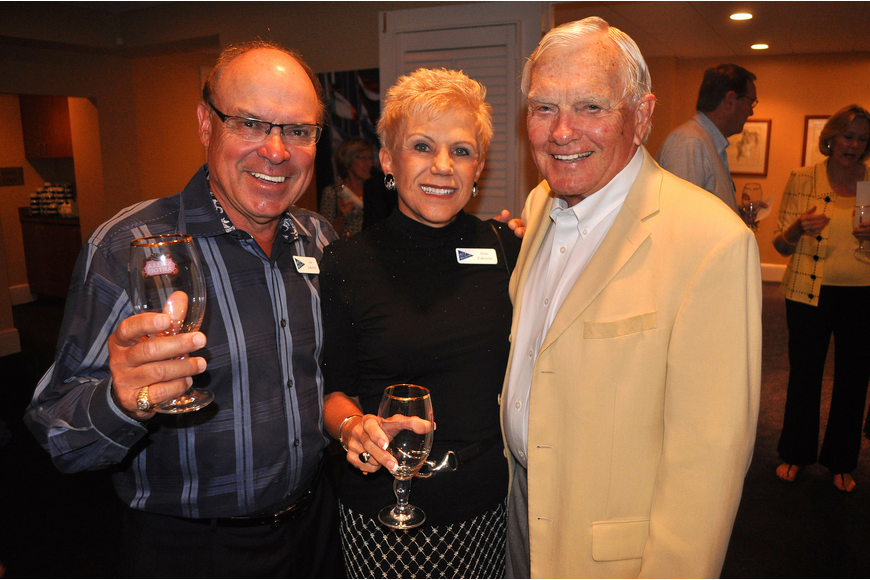 Jim and Jean Zakovec pose with Bill Steele, Saturday, Oct. 22 at Bird Key Yacht Club.