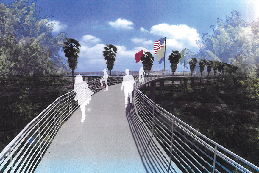 A pedestrian overpass that would provide access to the Sarasota bayfront from Main Street is part of the 1959 concept originally proposed.