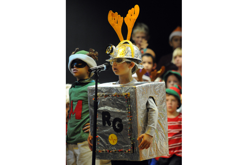 First-grader Cameron Boyer played the role of Robo Guy.