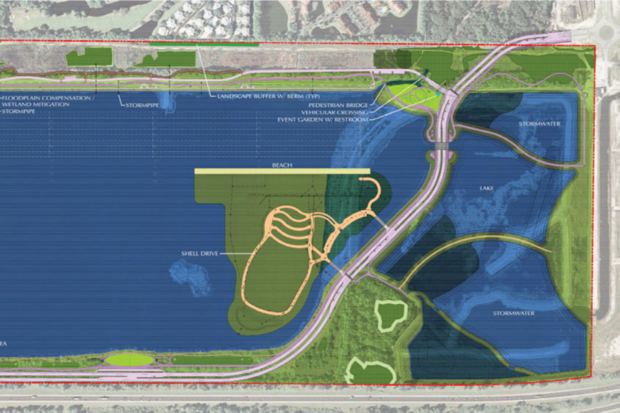 A Sarasota County schematic shows plans for the northern section of Nathan Benderson Park at University Parkway. Courtesy rendering.