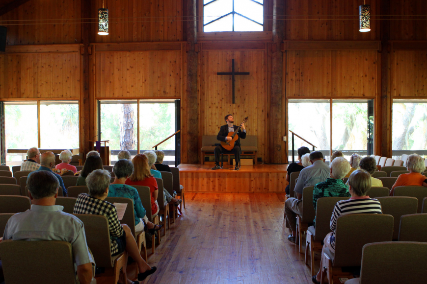 Dr. Zachary Johnson played on the small stage inside Siesta Key Chapel, Sunday, March 25, as part of the Arts Series.