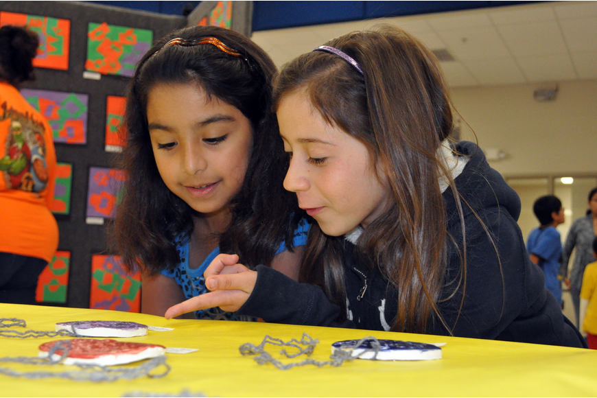 Second-graders Jessica Hernandez and Maria Vega enjoyed seeing all of the different artwork.