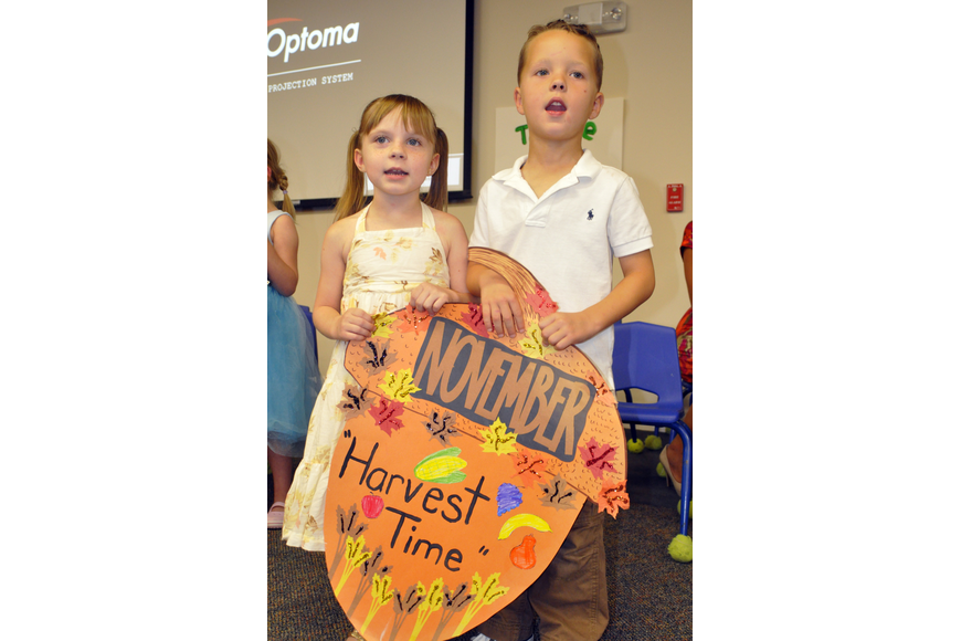 Five-year-olds Juliana Anderson and Camden Pope shared what they learned this year in VPK.