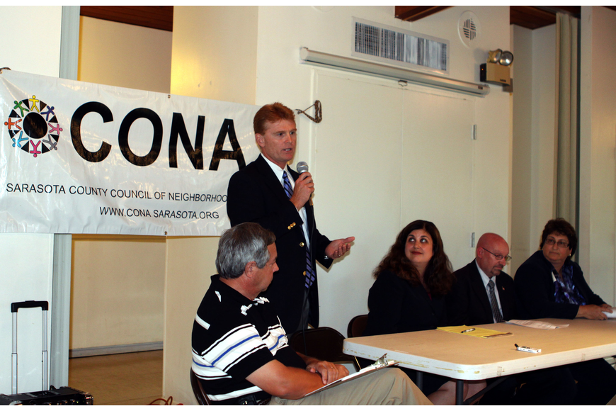 Charles Hines, Dist. 5, introduces himself at the CONA meeting, Monday, June, 11, at the Sarasota Garden Club.