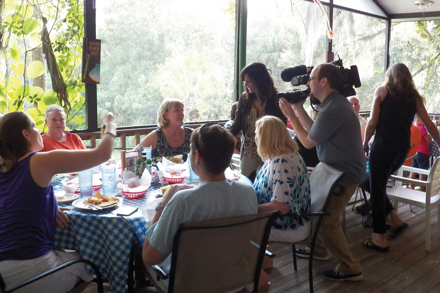 Film crews capped off their visit by interviewing patrons at their tables. Photos courtesy of Sarasota Sally.