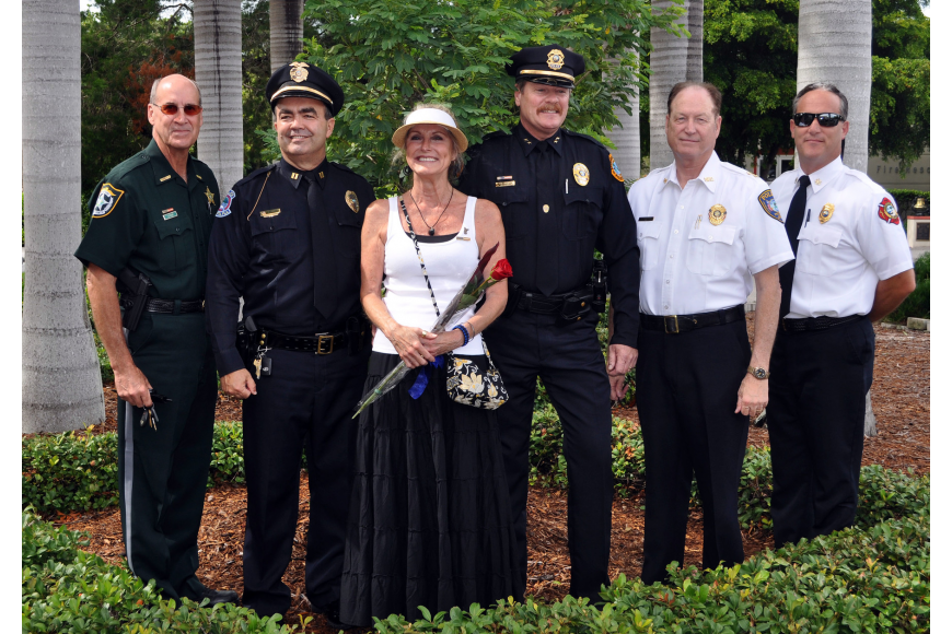 Manatee County Sheriff W. Brad Steube, Cpt. Paul Sutton, Leslie Hogle, Longboat Key Police Chief Peter Cumming, Bradenton Police Chief Michael Razilowski and Longboat Key Fire Chief Paul Dezzi
