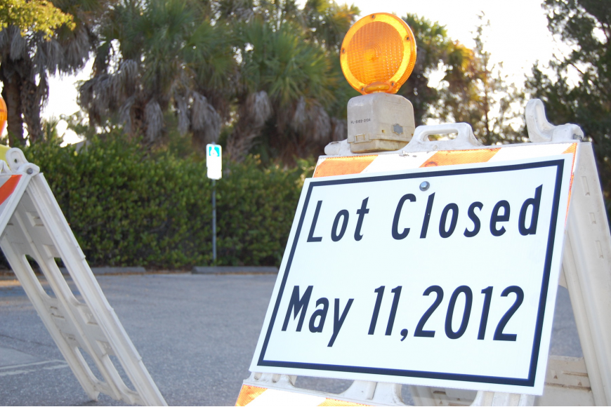 Sarasota County staff closed the municipal lot in Siesta Village for restriping earlier this year.