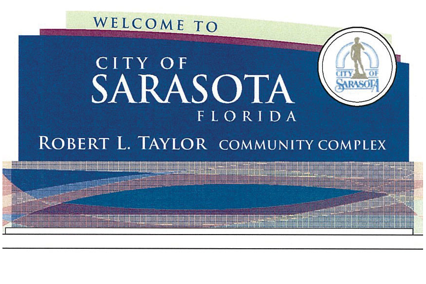 The city of Sarasota's wayfinding project includes signs indicating the arrival at a destination of interest, such as this rendering of a sign planned for the Robert L. Taylor Community Complex.