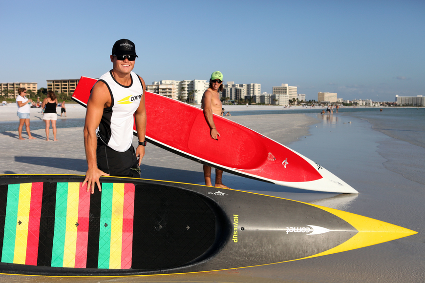 Brad Ward and Robert Martini with their paddleboards.