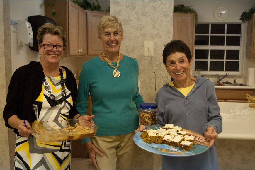 Barbara Kerwin, Pat Loy and Susan Landau brought refreshments for the first meeting of the season.