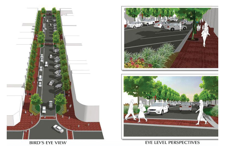 The total project encompasses three phases of improvements, including widened sidewalks on lower Main Street. Courtesy rendering.