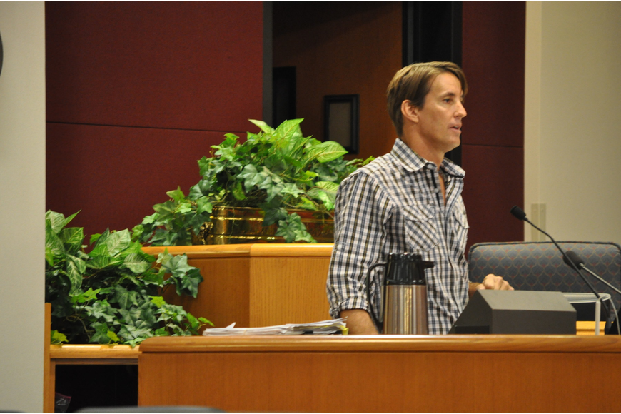Siesta Key Village Association President Russell Matthes spoke to Sarasota County commissioners on zoning issues Oct. 23.