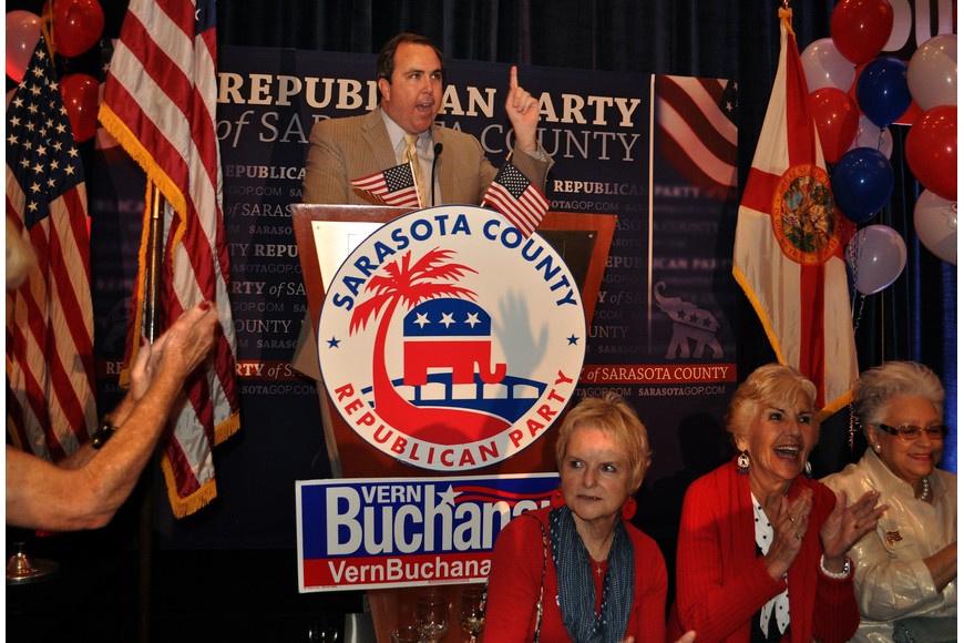 Joe Gruters speaks to the crowd Tuesday, Nov. 6, at the Republican Party of Sarasota Election Night Party at the Hyatt in Sarasota.