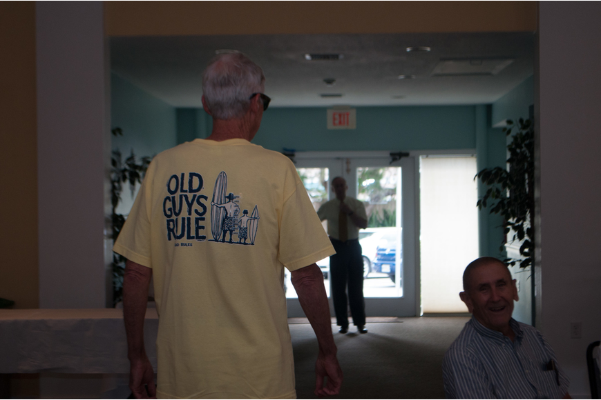 "Vince Brennan wears an ""Old Guys Rule"" shirt."