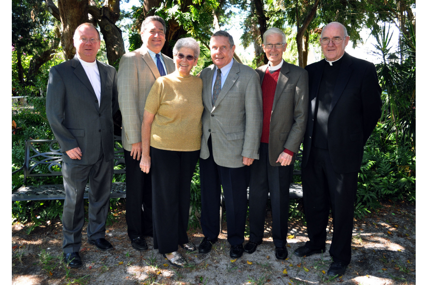 The Rev. Mark Bernthal, Rabbi Jonathan Katz, Pastoral Care Assistant MiMi Horwitz, the Rev. Bruce Porter, the Rev. David Danner and Msgr. Gerry Finegan