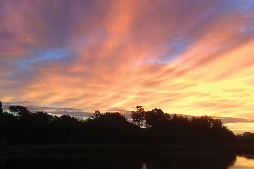 Denise Pope took this sunrise photo while jogging in the early morning in River Club.