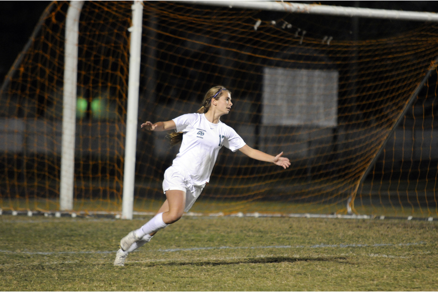 Lakewood Ranch High sophomore forward Tyler Gordon celebrates following her goal in the second half.